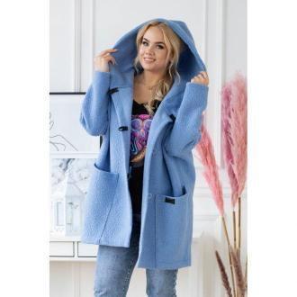 Niebieski płaszcz oversize z kapturem tiffany l (44-46)