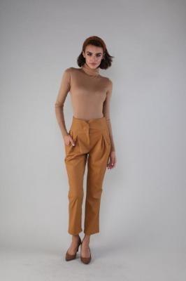 Spodnie Kuloty z Eko-skóry - Karmelowe