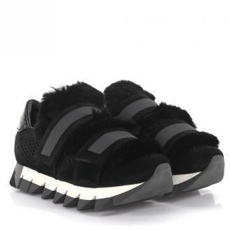 Dolce & Gabbana Sneakers ze skóry z futrem czarne