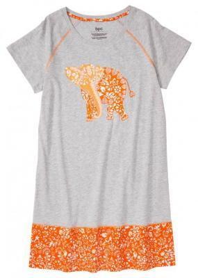 Koszula nocna z bawełny organicznej bonprix jasnoszary melanż - pomarańczowy wzorzysty