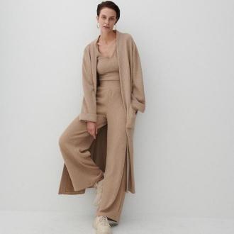 Reserved - Spodnie z prążkowanej dzianiny - Beżowy