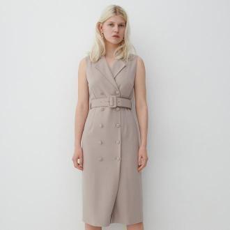 Reserved - Sukienka o kroju marynarki - Beżowy