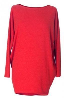 Czerwona bluzka tunika basic (ciepły materiał) 2xl (48-50)