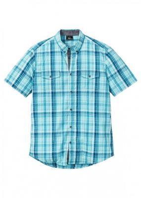 Koszula z kory w kratę, krótki rękaw   bonprix