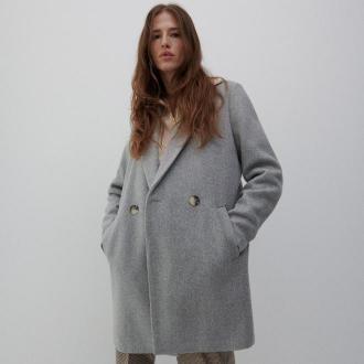Reserved - Dwurzędowy płaszcz - Jasny szary