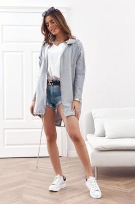 Luźna bluza z kapturem i nadrukiem na plecach jasnoszara 1044
