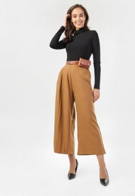 Ciemnobeżowe Spodnie Culottes Azaernixi