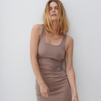 Reserved - Dzianinowa sukienka - Beżowy