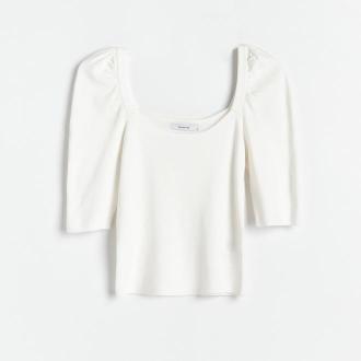 Reserved - Dzianinowa bluzka z bufiastymi rękawami - Kremowy