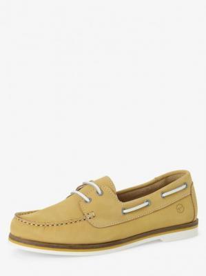 Tamaris - Pantofle damskie ze skóry, żółty