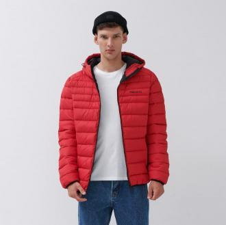 House - Pikowana kurtka z kapturem - Czerwony