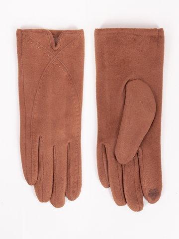 Rękawiczki damskie brązowe zamszowe z przeszyciami dotykowe 24
