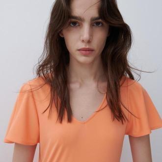 Reserved - Sukienka z falbanami - Pomarańczowy