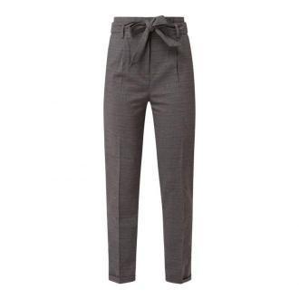 Spodnie typu paperbag ze wzorem w kratę