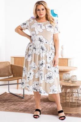 Sukienka elegancka letnia rozkloszowana z wiskozy MARIA białe kwiaty na beżu