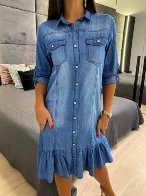 Niebieska Jeansowa Sukienka z Falbanką 6015-413-B