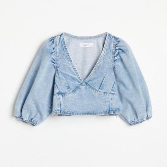 Reserved - Jeansowy bluzka z bufiastymi rękawami - Niebieski