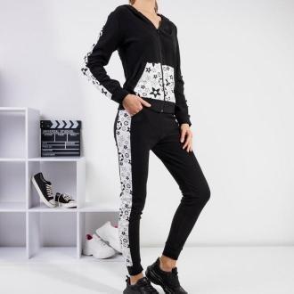 Czarny damski komplet dresowy z białymi wstawkami - Odzież