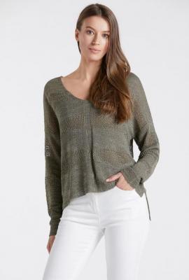 Ażurowy sweter z dekoltem w serek