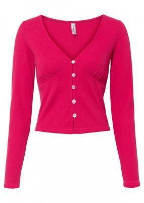 Krótki sweter rozpinany bonprix różowy magenta