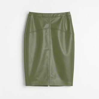 Reserved - Ołówkowa spódnica z imitacji skóry - Khaki