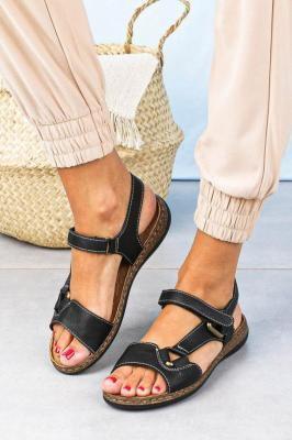 Sandały Sergio Leone na niskim koturnie zapinane na rzep czarne SK037