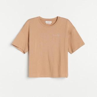 Reserved - T-shirt z napsiem - Beżowy