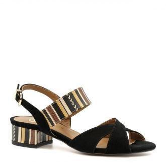 Czarne zamszowe sandały z szerokimi paskami 85C