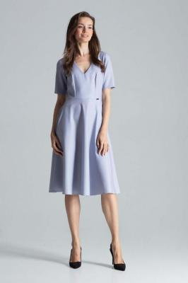 Szara Klasyczna Rozkloszowana Sukienka za Kolano z Dekoltem V