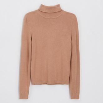 Cropp - Sweter basic z golfem - Beżowy