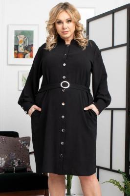 Sukienka wyszczuplająca szmizjerka z paskiem JULKA czarna PROMOCJA