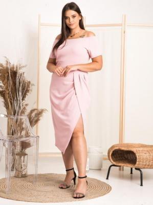 Sukienka hiszpanka DELICJA LETNIA long plus size efektowne rozcięcie puder róż