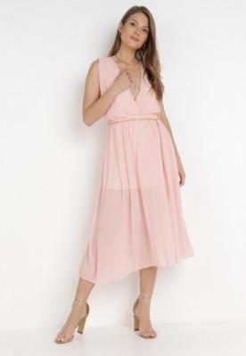 Różowa Sukienka Z Paskiem Hysacia