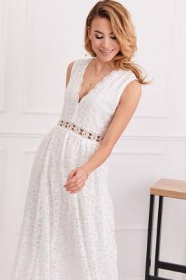 Elegancka sukienka koronkowa kremowa 8327