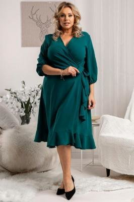 Sukienka kopertowa elegancka z falbanką IRIS wiązana butelkowa zieleń