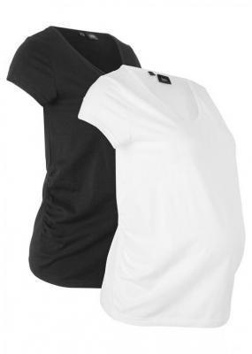 Shirt ciążowy basic (2 szt.) bonprix czarny + biały