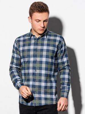 Koszula męska w kratę z długim rękawem K565 - khaki - XXL