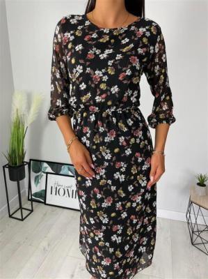 Czarna Sukienka w Kwiaty 6376-402-A