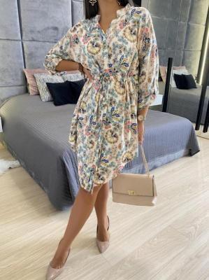 Beżowa Sukienka w Kwiaty 5715-77
