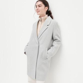 Reserved - Pudełkowy płaszcz z domieszką wełny - Jasny szary