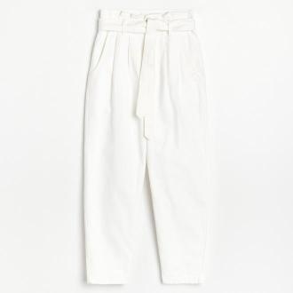 Reserved - Spodnie paperbag z paskiem - Biały