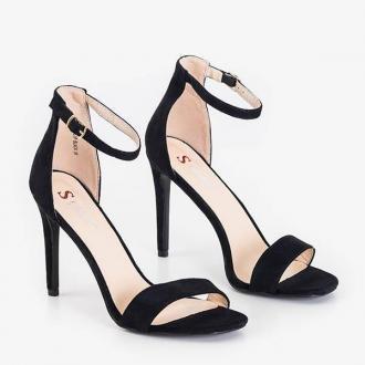 Czarne damskie sandały na szpilce Sestaro - Obuwie