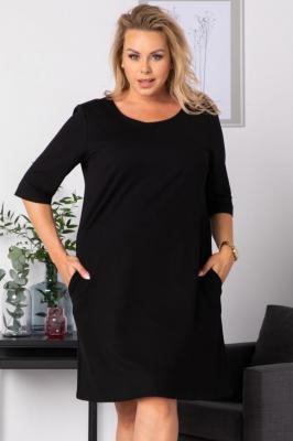 Sukienka dzianinowa trapezowa dres plus size HANA czarna PROMOCJA