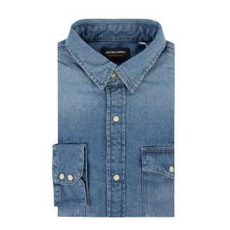 Koszula jeansowa o kroju modern fit z kieszenią na piersi