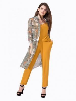 Musztardowe spodnie ze zwężanymi nogawkami Art Mio 837