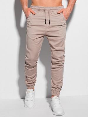 Spodnie męskie joggery 1037P - jasnobeżowe - XXL