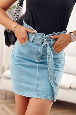 Spódniczka jeansowa z paskiem BB23890
