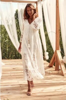 Koronkowa sukienka letnia ekri 6010