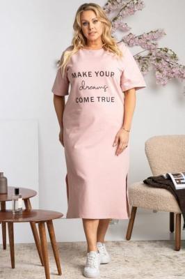 Sukienka t-shirtowa dresowa z napisem AMELKA puder róż