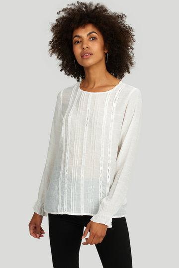 Elegancka bluzka z ozdobnymi mereżkami i pliskami